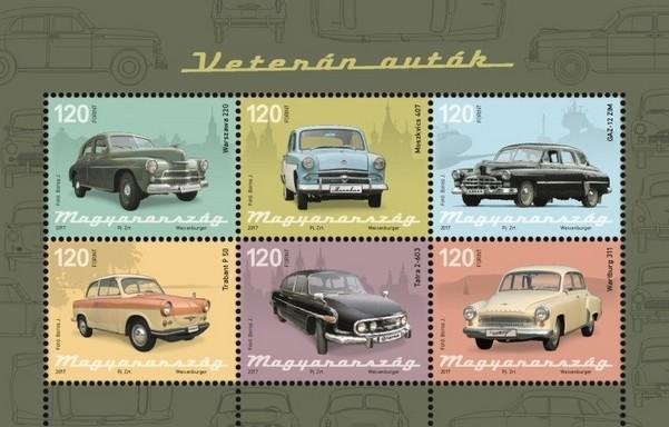 Veterán autók bélyegek, Kép: Magyar Posta