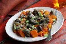 hagyma, különleges ízek, ősz, pulykamáj, sütőtök
