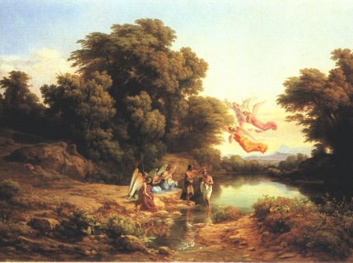 Markó Károly: Jézus megkereszteltetése a Jordán folyóban, Kép: wikimedia