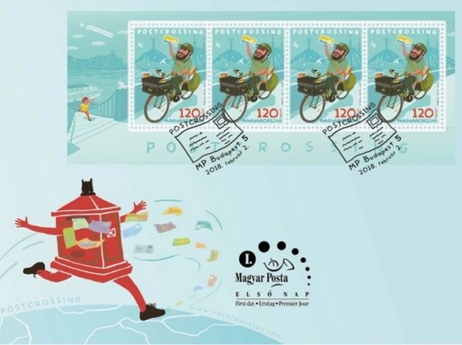Postcrossing bélyeg és boríték, Kép: Magyar Posta