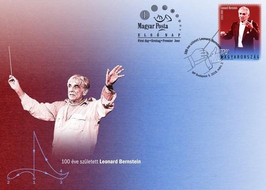 Leonard Bernstein boríték és bélyeg, Kép: Magyar Posta