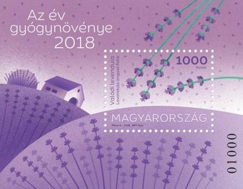 Levendula, az év gyógynövénye, 2018, bélygblokk, Kép: Magyar Posta
