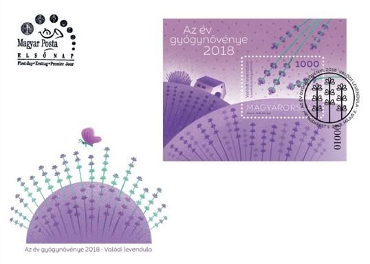 Levendula, az év gyógynövénye, 2018, díszboríték és bélyeg, Kép: Magyar Posta