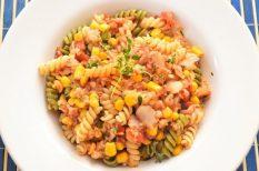 kukorica, paradicsom, tészta, tőkehalfilé