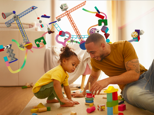 Apuka játszik a gyerekkel, Kép: UNICEF