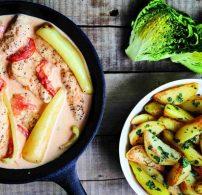 csirkemell, habtejszín, krumpli, paprika, paradicsom