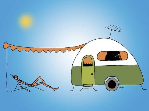 Hőhullám lakókocsival, grafika, Kép: pixabay