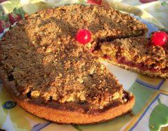 desszert, édesség, kukoricakeményítő, mandula, meggy, ünnepi asztalra