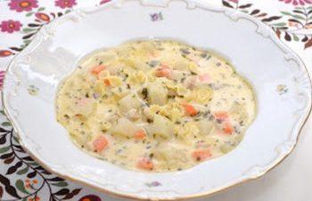 karalábé, leves, pulyka, tárkony