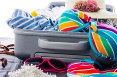 csomagolás, divat, nyár, ruhatár, tenger
