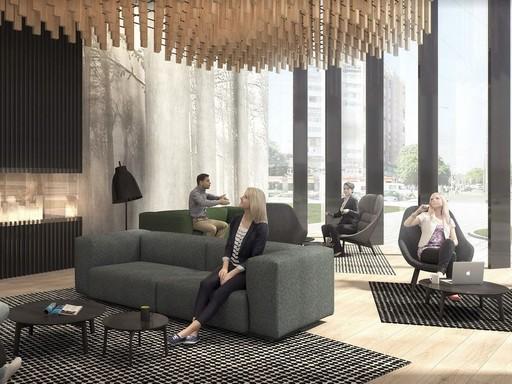 Lobby, üldögélve, Kép: Skanska