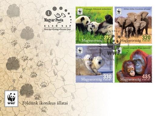WWF, Földünk ikonikus állatai díszboríték, Kép: Magyar Posta