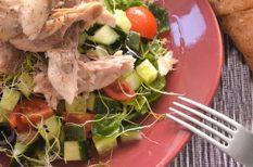 koktélparadicsom, makréla, nyár, saláta, uborka