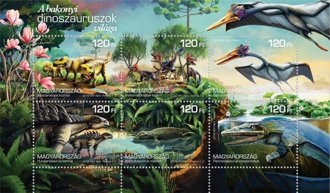 Bakonyi dinoszauruszok világa kisív, Kép: Magyar Posta