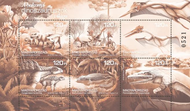 Bakonyi dinoszauruszok világa kisív, fekete nyomat, Kép: Magyar Posta