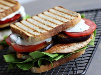 egészséges, padlizsán, pulykamell, szendvics, uzsonna