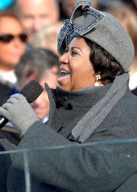 Aretha Franklin Obama beiktatásán, 2009-ben, Kép: wikipedia