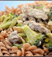 brokkoli, fokhagyma, szűzpecsenye, tészta