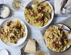 erdei gomba, fehérbor, pulyka, pulykamellfilé, tészta