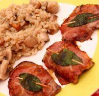 csuka, hagyma, saltimbocca, tőkehal, zöldséges rizottó, zsálya