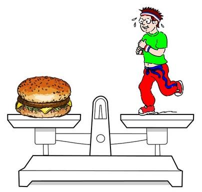 Hamburger és sportoló a mérlegen, Kép: pixabay