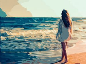 Nő a tengerparton, Kép: pixabay