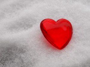Piros szív a jégen, Kép: pixabay