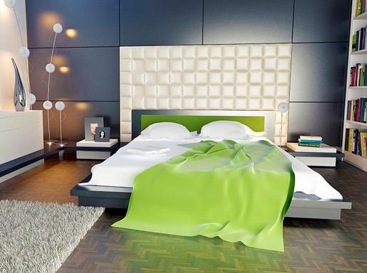 Modern lakás zöld pokróccal, Kép: pixabay