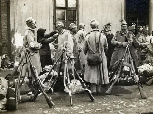 Bevonulók, I. Világháború,Kép: skanzen, Szentendre