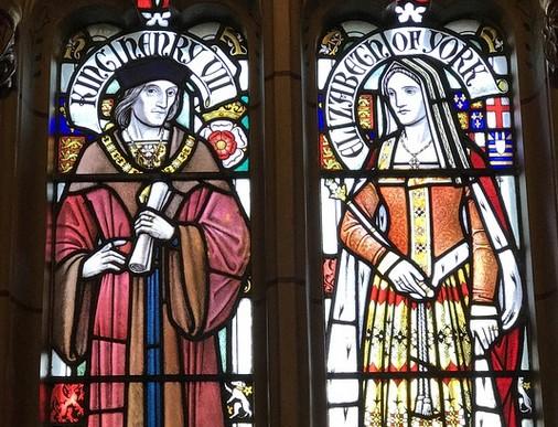 VII. Henrik és Erzsébet ólomüvegen, Cardiff Vára, Kép: pixabay
