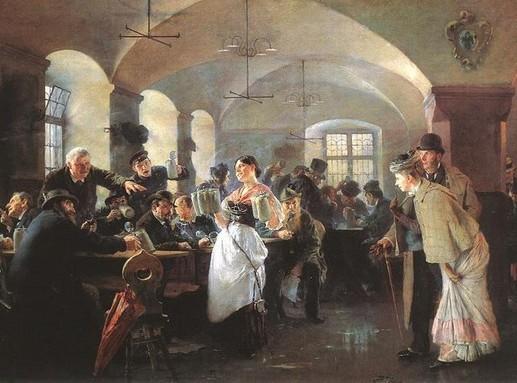 László Fülöp Elek 1892-es festménye egy müncheni sörözőben, Kép: wikipedia