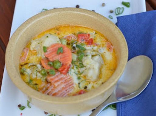 Tejszínes, tárkonyos színes zöldségleves, Kép: maxkonyhaja hu