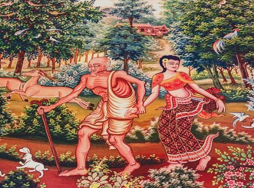 Thai templomi falfestmény, Kép: publicdomainpictures